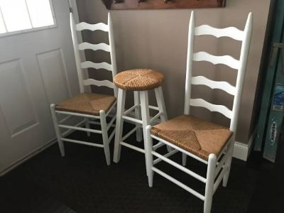 3 PIECE ANTIQUE SHABBY LADDER BACK RUSH CHAIRS AND STOOL
