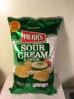 Herr s Sour cream and onion potato chips, expiration July 31, 2019