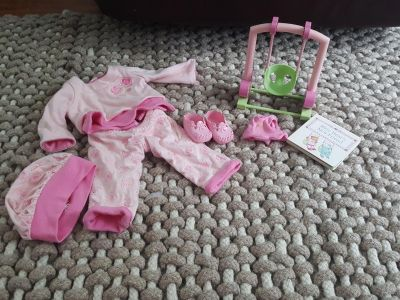 American Girl Bitty Baby Playful Hearts Set Doll Outfit & bear outfit & swing