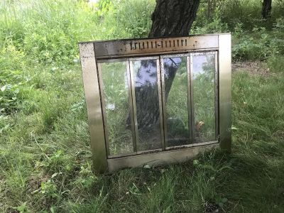 Ornate Beautiful Vintage Metal with Glass Doors Fireplace Insert Perfect DIY Upcycle Refurb Project