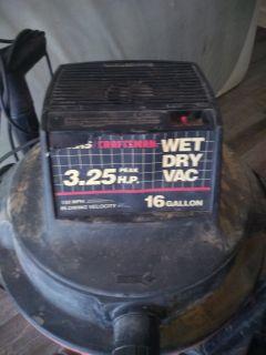 Used Sears Craftsman wet dry vac 16 gallon 3.25 peak hp