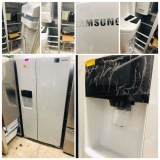 Samsung white side by side refrigerator