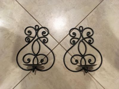 Set of Two Hanging black metal candle holders