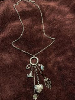 Women s silver layered charm necklace