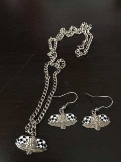 Indy Motor Speedway necklace/earring set