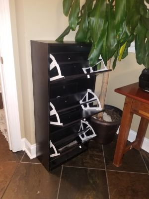 Upright wooden filing cabinet