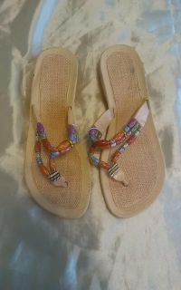 Women's Size 8 Beaded Thong Sandals