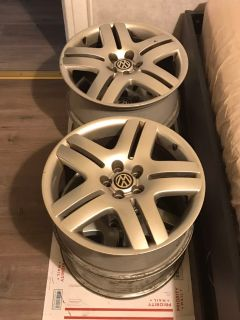 "Set of 4 Volkswagen Long Beach Wheels 17"" 5x100 rims OEM vw mkiv Jetta golf"