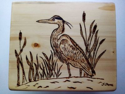 """Blue Heron Wood burned plaque. 10 1/2"""" by 9"""" Created by local Artisan, custom orders available"""