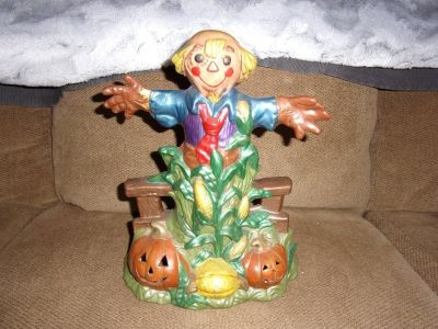 "14"" High PORCELAIN SCARECROW Halloween or Other Decoration Figurine"