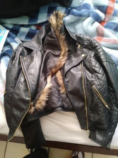 Womens leather jacket and bag