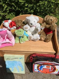 Wooden toy box with stuffed animals