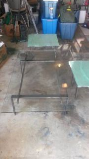 College Students metal and glass coffee table and matching end tables