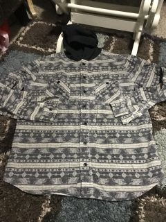 Thick and warm long sleeve button up with hood