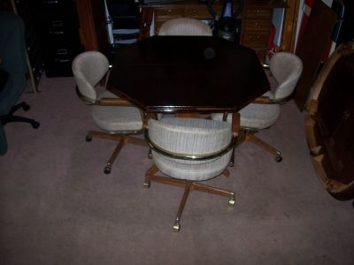 Three (3) DINING TABLE SET (OCTAGON) with 4 chairs on wheels