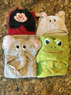 4 children s animal hooded towels