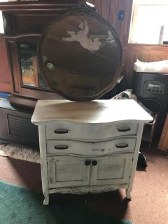 Antique shabby chic oak cabinet with the antique mirrorrr