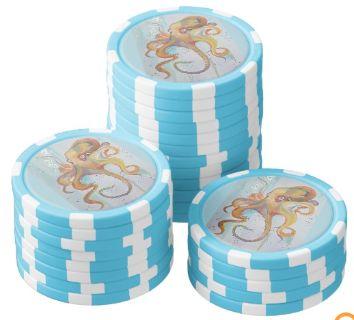 Zazzle TEN octopus themed poker chips fine art JP Denyer