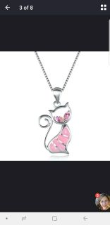 Pink kitty necklace $5