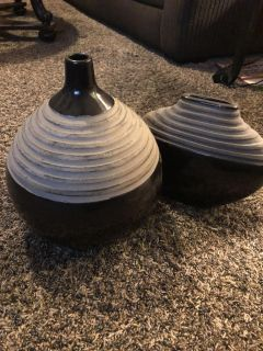 Two Different Styles Black/ Cement Grey Vases