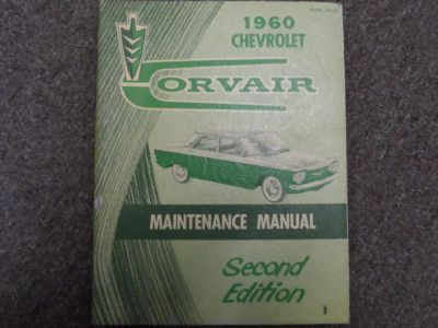 Buy 1960 Chevrolet CHEVY CORVAIR Maintenance Shop Manual second 2nd FACTORY OEM BOOK motorcycle in Sterling Heights, Michigan, US, for US $33.95