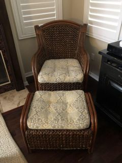 Indoor wicker chair with ottoman