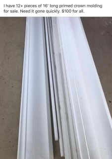 12+ pieces of 16 long primed crown molding