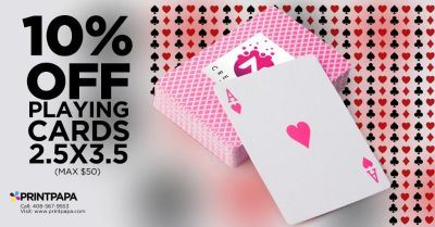 10% off (max $50) on 2.5*3.5 Playing Cards