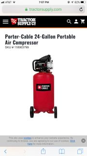 Porter Cable 24 Gallon Compressor New used once