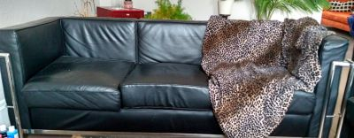 Black leather and chrome couch/loveseat/chair set