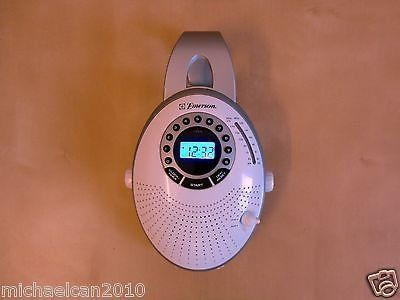 Emerson blue led portable anywhere am/fm radio with clock