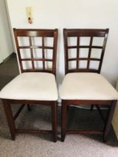 Tall chairs with solid wood frame