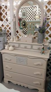 Frenchic Painted Rustic Farmhouse Dresser With Matching Mirror