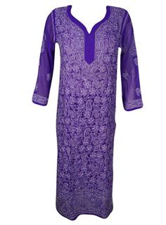 Long Tunic Purple Embroidered Georgette Cover Up S
