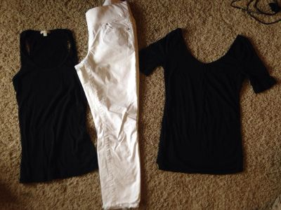 Gap maternity lot size small black ribbed Tank, white cropped maternity jeans, and black scoop neck top size small all for $12