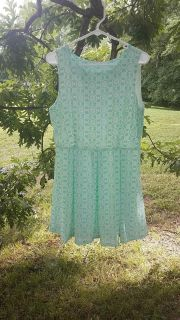Teal and white patterned Charming Charlie spring dress
