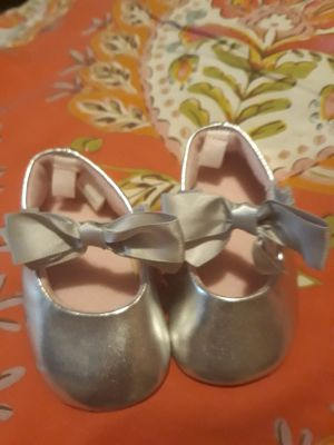 New silver ,and pink ,baby girl shoes
