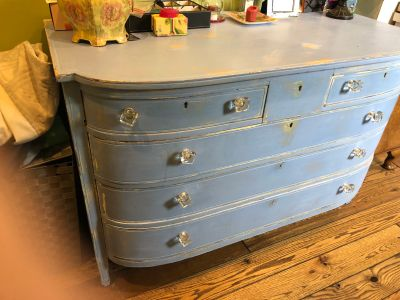 True vintage solid wood distressed dresser with a hidden story
