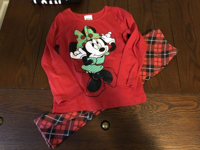 VGUC Minnie Mouse Christmas Top and Pants Size 4T