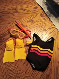American Girl swim suit and diving mask/flippers