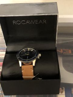 Rocawear watch with a Brown leather case, Brand New