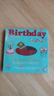 New designer collection birthday party rubber stamp set