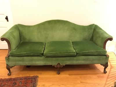 Beautiful Green Velvet Antique Couch