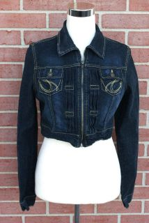 Paris Blues Zip Front Cropped Denim Jean Jacket w Studs Women Large Junior 11 13