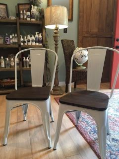 Pair of new white medal and wood chairs