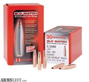 For Sale: Hornady 26331 ELD 6.5mm .264 140 GR ELD-Match 100 Box-flat rate s&h $14.95