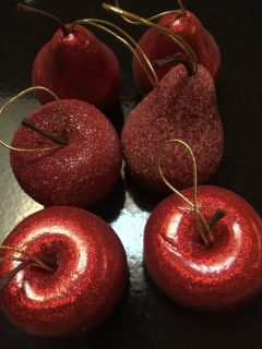 6 pc Red Pears & Apples Xmas Tree Ornaments