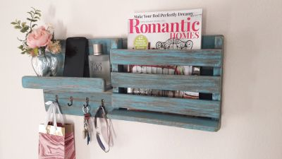 Rustic Blue Wooden Wall Mounted Mail Key Holder Entryway Organizer Shelf Bookcase Shelves Wall ...