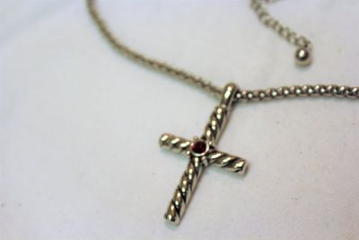 "NWOT Silver Tone Chain 18"" Cross Religious Red Gem Stone Strand Necklace Pendant"