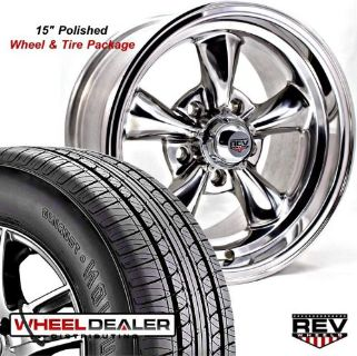 "Find 15x7""-15x8"" POLISHED REV CLASSIC 100 WHEELS & TIRES FOR FORD FAIRLANE 5-LUG 1965 motorcycle in Spring, Texas, United States, for US $1,049.00"